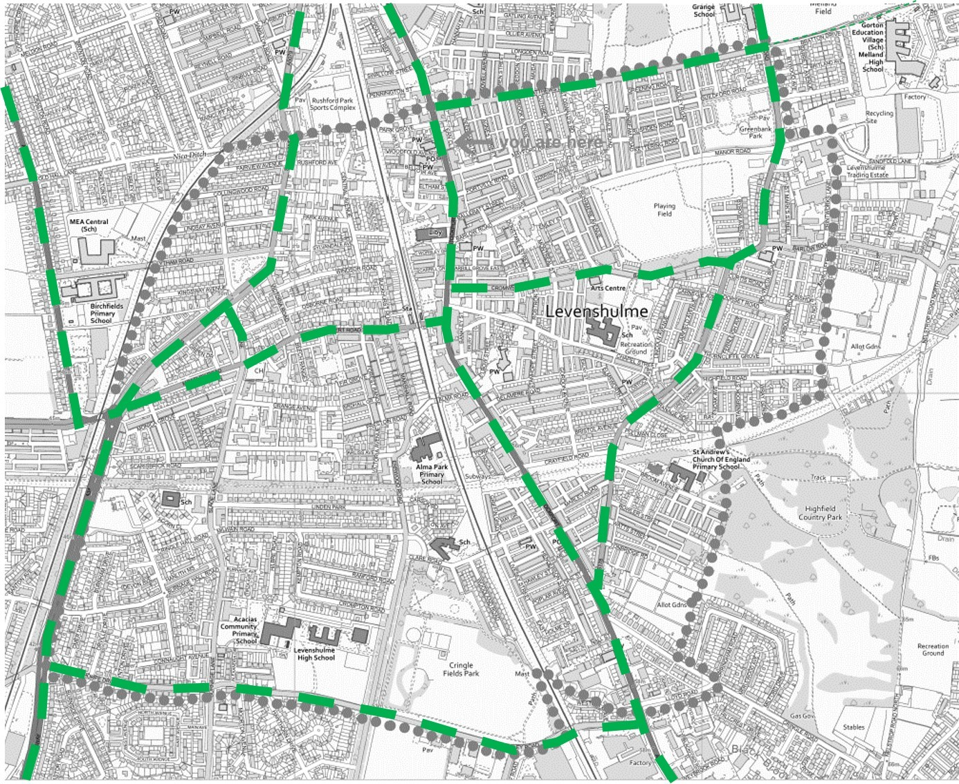 Map showing low traffic neighbourhood boundary examples