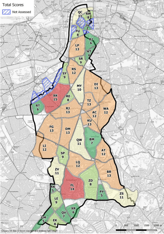 Example map of Lambeth LTN prioritisation traffic-light system