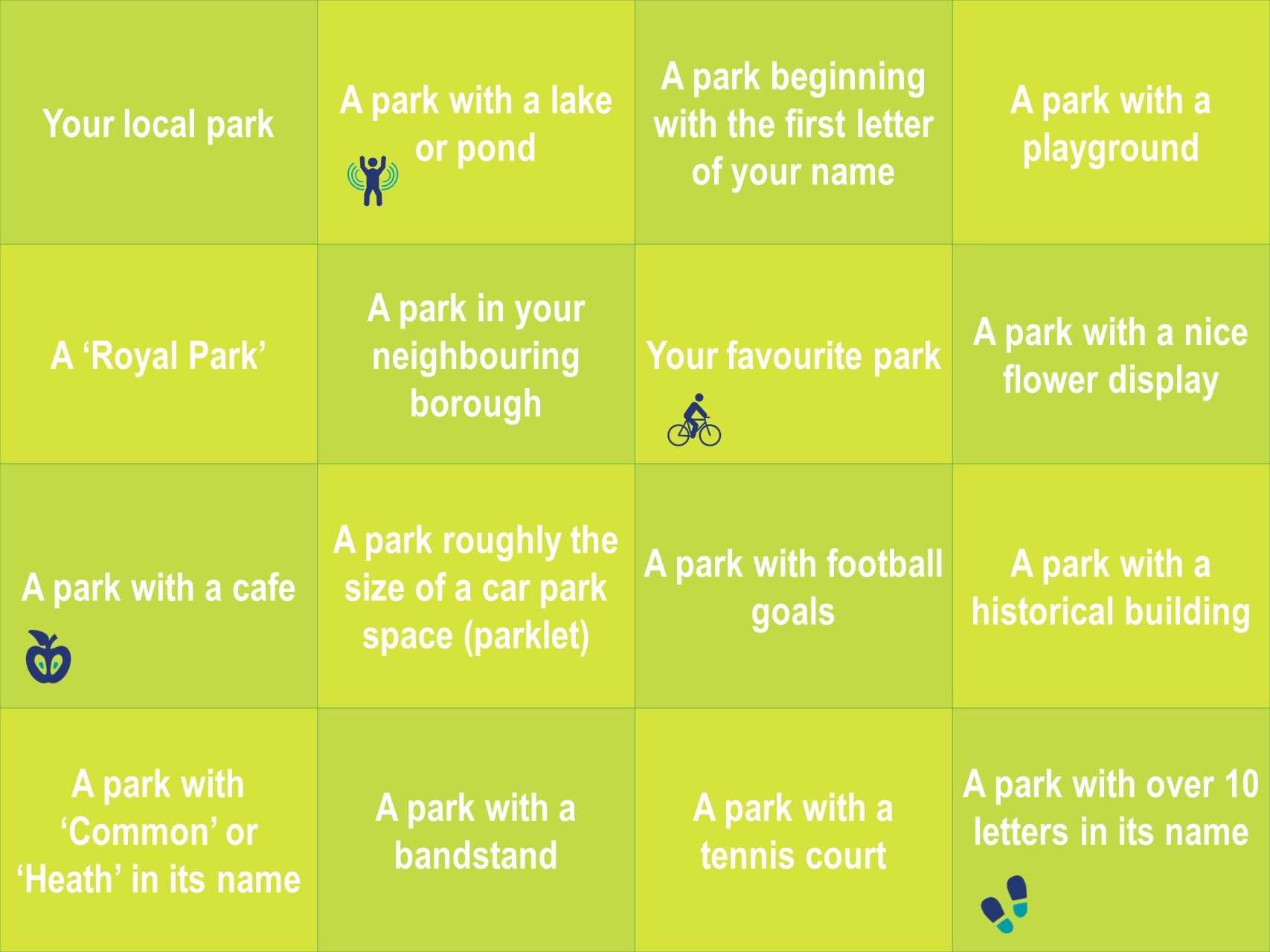 Parks and green spaces bingo board
